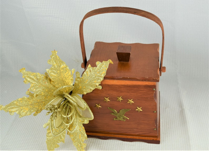 Vintage Early American Tobacco Storage Wood Bucket with Brass image 0