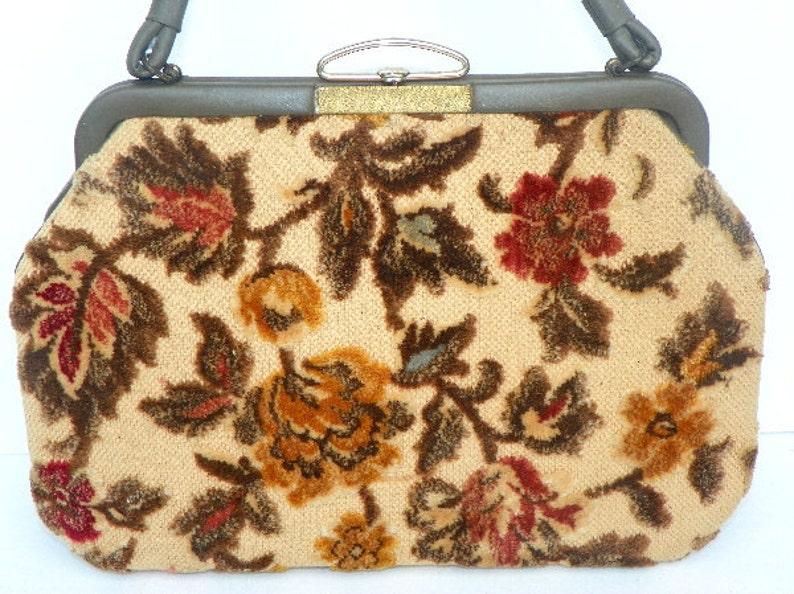 60's Chenille Purse Handbag Fashion Fall Leaves in Brown image 0