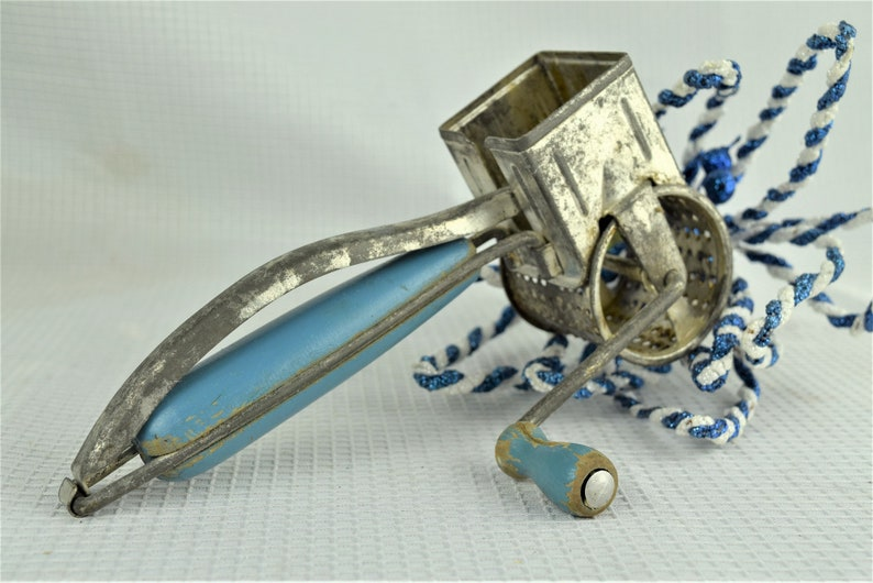 Vintage Blue Handle Cheese Grater Crank Rustic Blue Kitchen image 0