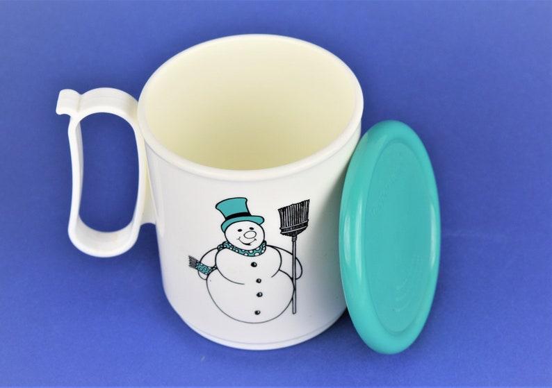 Vintage Tupperware Snowman Mug with Lid Hot Cocoa Mug Lid image 0