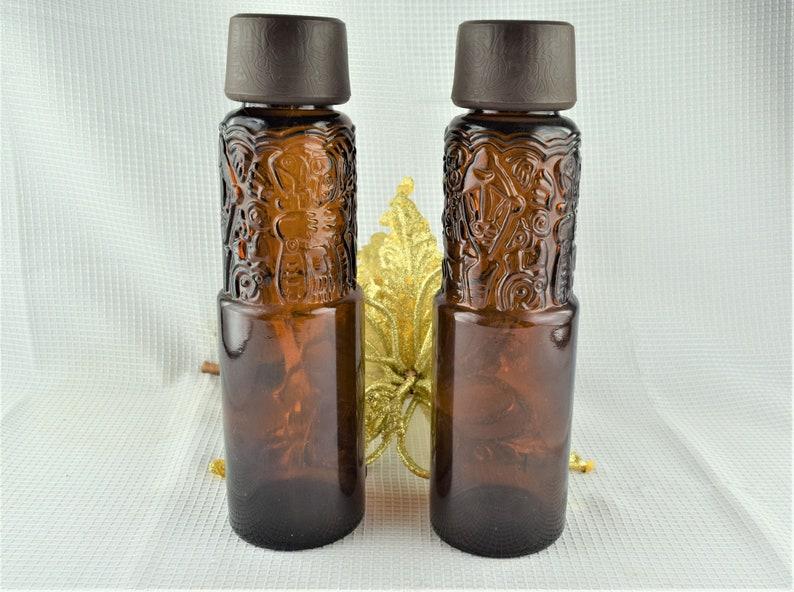 Vintage Brown Tiki Liquor Bottle Heublein Tall Amber Decanter image 0