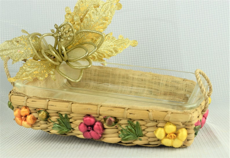 Vintage Pyrex Casserole Dish with Floral Rattan Carrying image 0