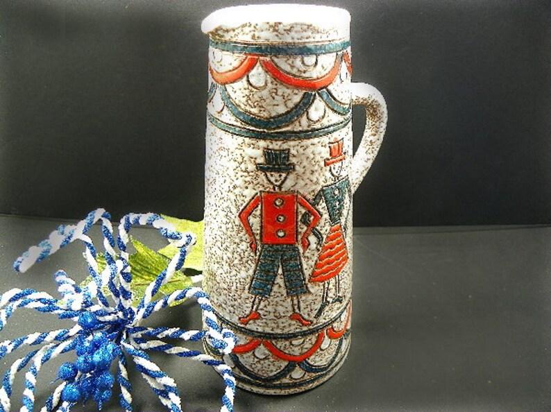 Vintage Tall Folk Art Pitcher Hand Made Pottery Primitive Art image 0
