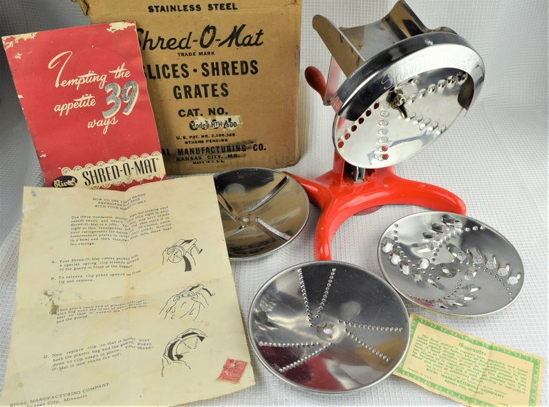 Vintage Classic Red Shred O Mat Food Processor 1951 Rival image 0
