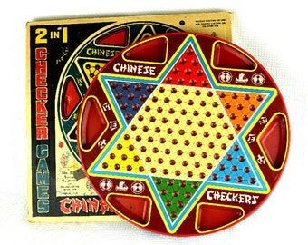 Vintage Metal Chinese Checker Board Tin Lithograph 2 Games with Original Box Ohio Art
