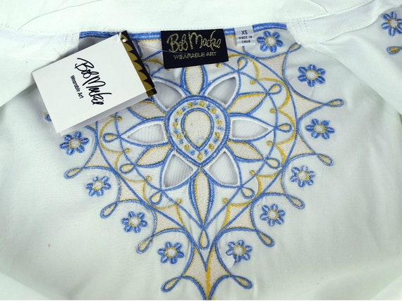 Vintage Bob Mackie Embroidered Shirt Jacket New with Tag Wearable Art Zip Up Front