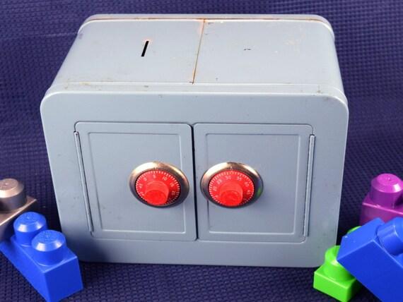 Vintage Metal Toy Bank with Combination Lock Mosler Vault Money Box