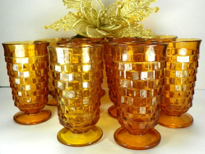 8 Amber Whitehall Drinking Glasses Vintage Glassware Set by image 0