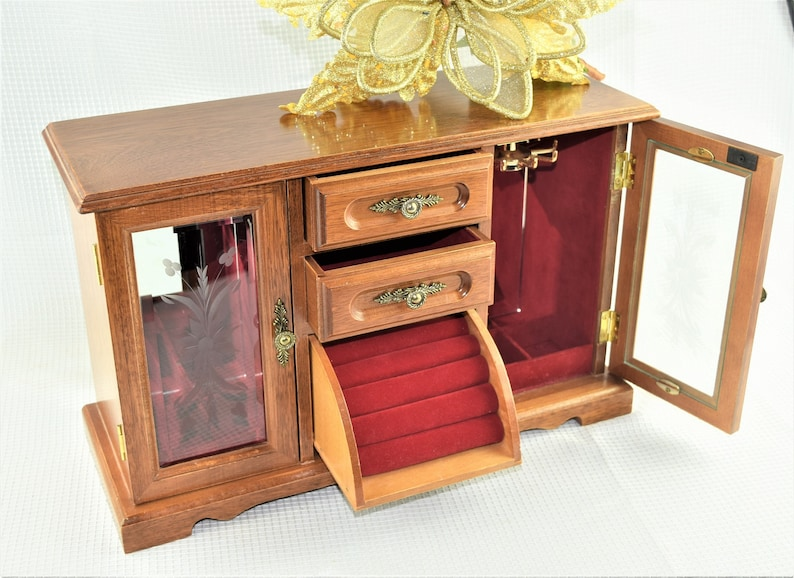 Mid Century Wood Jewelry Box with Ring Compartment and image 0