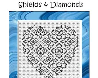 Blackwork Embroidery Kit - Blackwork Heart Series - Shields & Diamonds