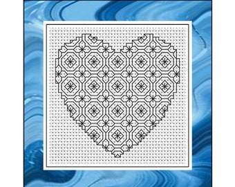 Blackwork Embroidery Chart - Hearts & Octogons - PDF Chart/Instructions