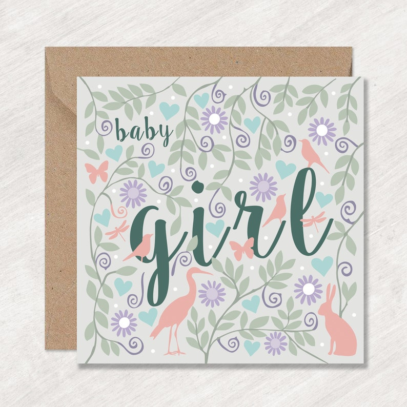 Animals and Flowers Baby Girl Card Pretty Baby Girl Card Can post to recipient with personal message