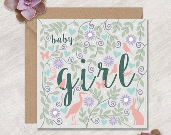 Animals and Flowers Baby Girl Card   Pretty Baby Girl Card   Baby Card in the UK   Can post to recipient with personal message