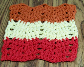 Crochet Red Yellow Rust Cotton Dishcloth, Handmade Facecloth, Washcloth, Small