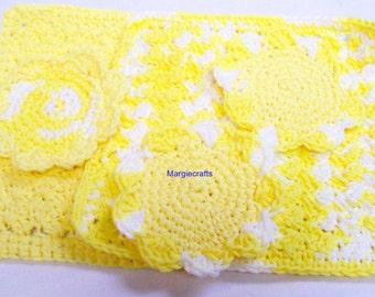 Crochet Dishcloths, Scrubbies, Facecloth, Washcloth, Spa Cloth, Kitchen Gift, Cotton, Yellow, Blue, Green, Handmade