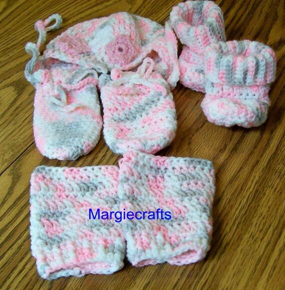 Handmade Crochet Baby Hat Mittens Booties Leg Warmers  aebda556841