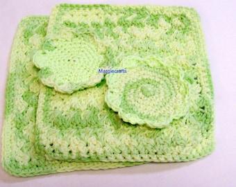 Crochet Green Cotton Dishcloth, Scrubbies, Handmade Facecloth, Washcloth, Spa Cloth, Kitchen Gift,