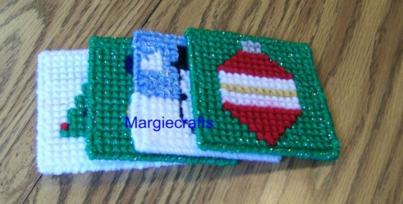 Plastic Canvas Christmas Coaster Patterns.Christmas Coasters Plastic Canvas Coasters Handmade Cross Stitch Gift For Her