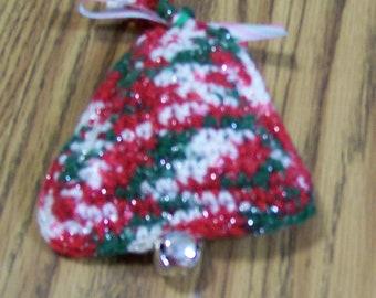 Christmas Bell Ornament, Crochet, Gift for Her, Decor, Handmade, Hanging Multi Colored