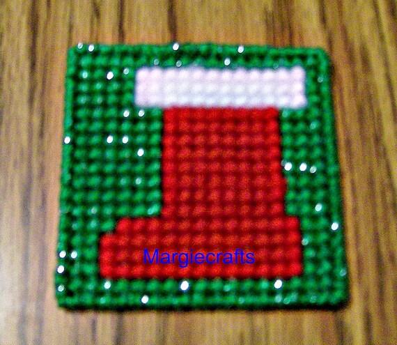 Plastic Canvas Christmas Coaster Patterns.Pattern Christmas Stocking Coasters Plastic Canvas Stocking Stuffer Handmade Yarn Coasters