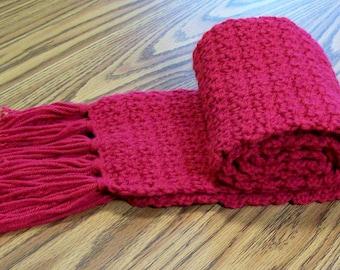 Womans Scarf, Crochet Raspberry Red Straight Scarf, Fashion Scarf, Winter Scarf, Round Scarf,  Accessories, Handmade