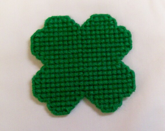 Green Yarn, Kitchen Decor Fridge Handmade Plastic Canvas Shamrock Magnet Needlecraft Cross Stitch