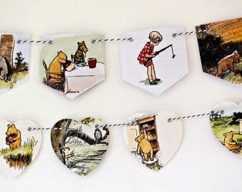 Winnie the Pooh decor, Winnie the Pooh baby, Winnie the Pooh art, Baby shower decor,  Nursery bunting, Pooh Bear decor, Pooh bunting flags