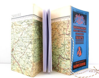 Travellers journal, Birmingham notebook, Travel gift, Map journal, Journal for him, Gap year gift, Geography gift, Warwickshire map