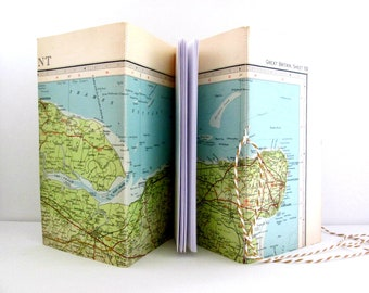 Travel journal, Travellers notebook, Travel gift, Map journal, Journal notebook, Kent gift, Geography gift, Midori style book