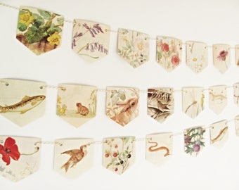 Animals and Flowers bunting, Countryside garland, Nature lover gift, Floral garland, Garland bunting, Rustic wall decor, Tea party flags