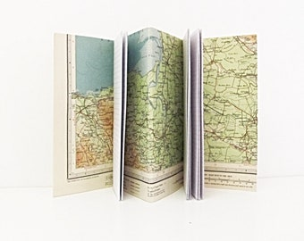Vintage map notebook, Travel journal, Map lover gift,  Upcycled gap year gift, Glastonbury journal, Outdoor enthusiast gift,  Somerset map