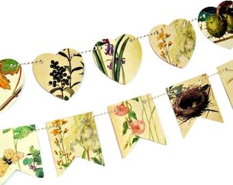 Countryside garland, Flowers bunting, Wedding backdrop, Rustic wall decor, British wildlife flags, Garland bunting, Countryside art