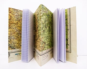 Travel notebook, Vintage map journal, Travellers record book,  Peak District gift,  Holiday, Retirement, House warming gift, Sketchbook