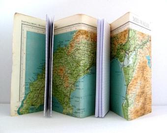Wales map journal. Travellers notebook. Unique keepsake book.  Gap year, hill walker, camper, hiker gift.  Secret Santa Welsh gift.