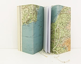 Map journal, Geography gift, travel notebook, gap year journal, Somerset present, Holiday memory book, Vintage upcycled quirky gift