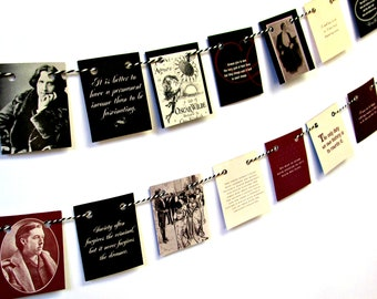 Oscar Wilde gift, Oscar Wilde quotes, Oscar Wilde bunting, Mini bunting, Bunting flags, Book lover banner, Book shelf decor, Oscar Quotes