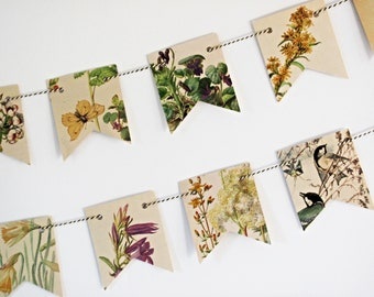 Spring, summer garland, Floral countryside paper bunting,  Edwardian Lady tea party flags, Party wall decor.  Eco friendly home gift