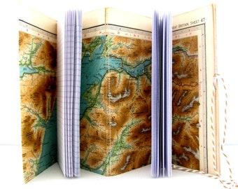 Travel notebook, Travelling journal, Map notebook, Scotland gift,Birthplace memento, Geographer, Retirement, Wedding,Honeymoon gift
