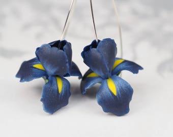 Dark blue iris flower earrings, birthday gift for wife, floral dangle earrings, polymer clay blue jewelry