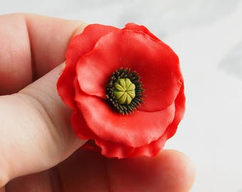 Red poppy flower brooch, red poppy pin, red poppy jewelry,  poppy floral jewelry, Veteran's Day Poppy, polymer clay jewelry