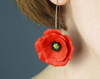 Red poppy flower earrings, birthday gift for her, red girlfriend gift, red dangle earrings, statement earrings, polymer clay floral jewelry