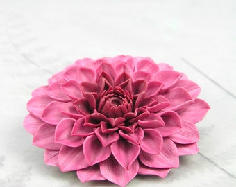 Dahlia flower brooch, floral brooch, pink dahlia flower pin, polymer clay dahlia brooch, flower jewellery, floral pin