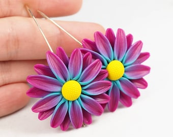 Flower earrings, colorful daisy flower dangle earrings, statement earrings, polymer clay jewelry, gift for her, nature inspired jewelry