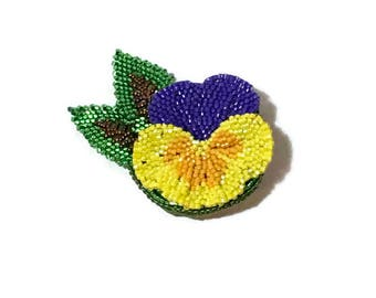 Hand Beaded Pansy Flower Brooch in Yellow , Orange and Purple  Finished With Hand Beaded Leaves