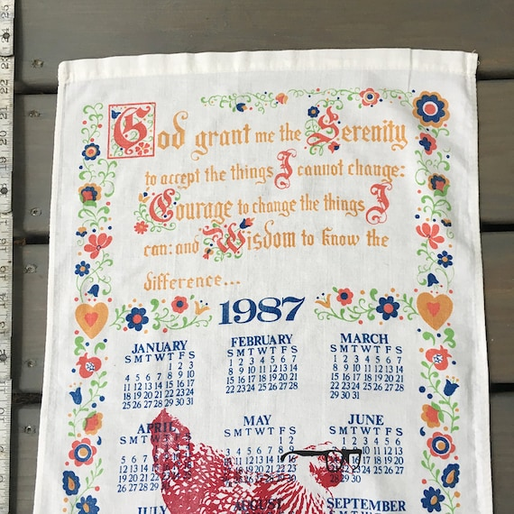 1987 Serenity Prayer Vintage Calendar Tea Towel Mary Chicken Etsy