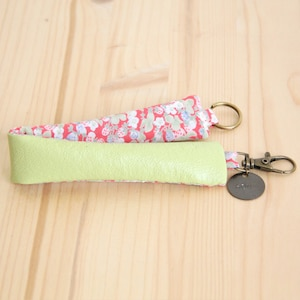 Lime Green Recycled Leather Keychain  Strawberry Woman Keyring  Message Customizable Keyring  Mother Student Personalized Gift  PCF19