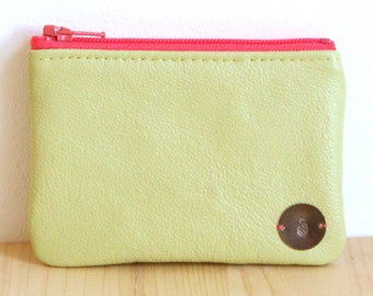 Recycled Lime green Leather Woman Wallet / Neon Pink Green zipped change Purse / Vintage Flowers wallet / Birthday Gift Personalized / PMF46