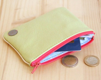 Large Wallet in Recycled Lime green Leather / Pink zipper Women Cardholder / Flowers pouch / Christmas personalize gift / Birthday / PC40