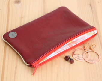 SALES Recycled red leather pouch for woman / Orange and red zipped leather case / Leather large red wallet / Mother'day Gift