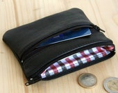 Black recycled leather man wallet 2 zipped pockets Red and black checks lining coins wallet Eco ethical Christmas gift Fathers day